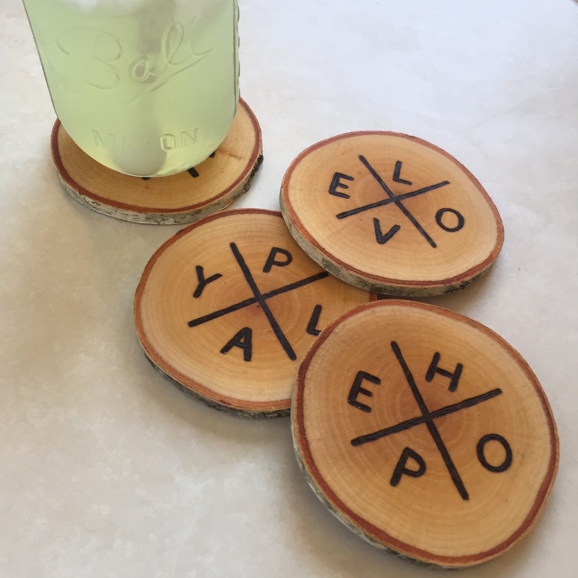 The Colibri Project 4 Letter Words Wood Burned Coasters The